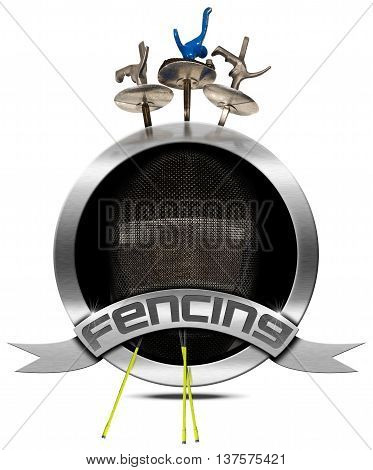3D illustration of a round metallic symbol with fencing mask and three fencing foils and text Fencing. Isolated on white background