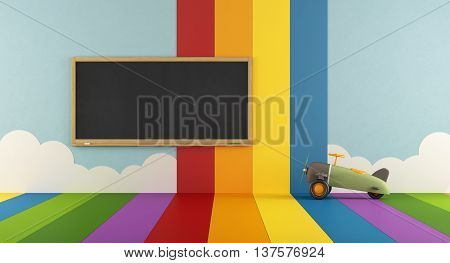 Colorful Playroom With Blackboard