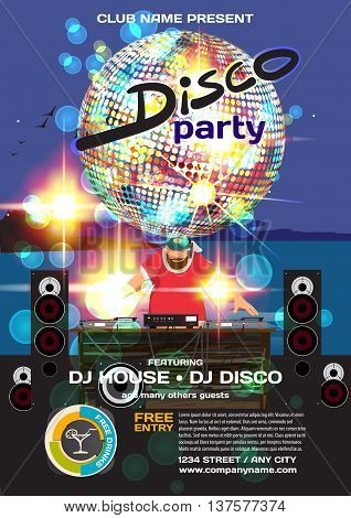 Vector summer party invitation disco style. Night beach dj palm trees disco ball template posters or flyers.