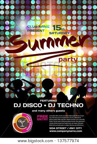 Vector summer party invitation disco style. Night beach dj women template posters or flyers.