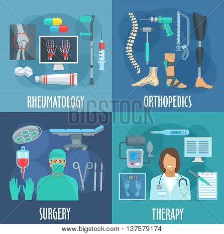 Surgery, therapy, orthopedic and rheumatology icons with flat symbols of doctors, operation table and surgery tools, checkup form and thermometer, x ray scan, medicines and crutch, prosthetic leg, bandage, spine and instruments