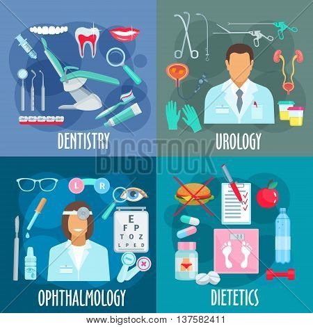 Medical branches flat design concept with icons of dentistry with dentist tools, urology with urologist, instruments and treatments, ophthalmology with optometrist and visual acuity test, dietetics with losing weight principles symbols