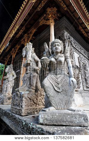 BALI, INDONESIA, 26 MAY, 2015: Guardian sculptures from a Hindu Temple in Bali Indonesia