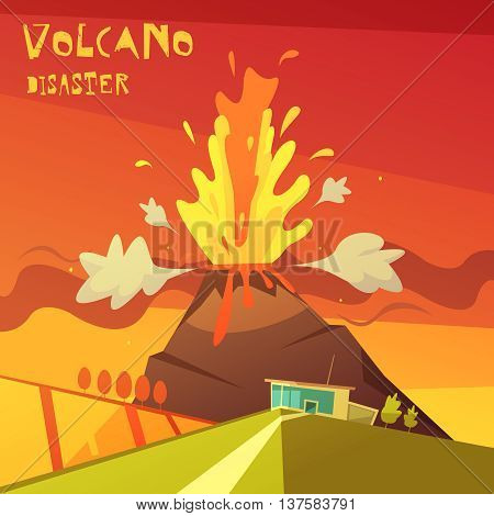 Color cartoon illustration volcano disaster depicting lava rising from the volcano vector illustration