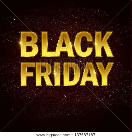 Golden black friday text on red and black abstract background