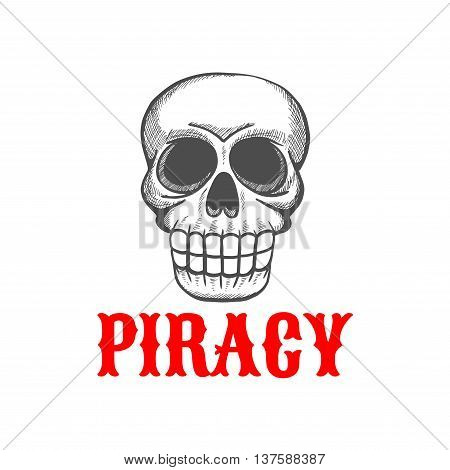 Halloween mascot of wicked pirate skull of angry dead guard of pirate treasure. Sketch symbol for tattoo or piracy theme design usage