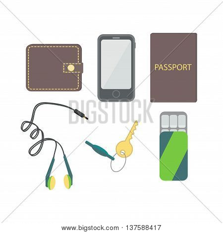 In the pockets of men- wallet, passport, cell phone, headphones, gum, key. Vector illustration.