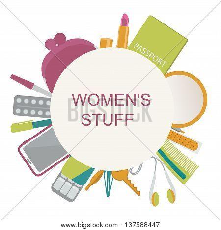 Women's stuff- purse, lipstick, passport, cell phone, key, headphones, mirror, gum, plaster, aspirin. Vector illustration.