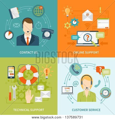 Contact us customer 2x2 flat icons set of online and offline support services isolated vector illustration
