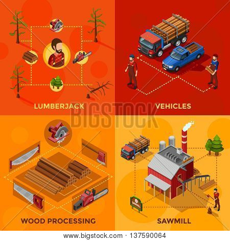 Lumberjack 2x2 isometric design concept set of wood processing and sawmill compositions woodcutter tools and vehicles for lumber transportation icons flat vector illustration