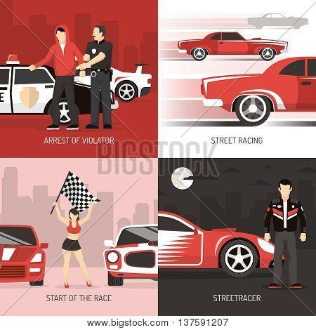 Street car public roads racing concept 4 flat icons square banner with violater arrest abstract vector illustration