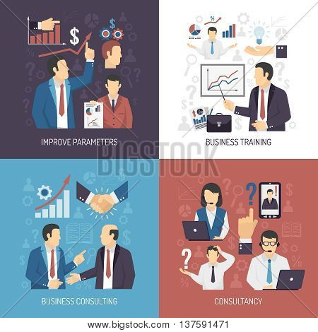 Business management skills training and consulting services concept 4 flat icons square design abstract isolated vector illustration