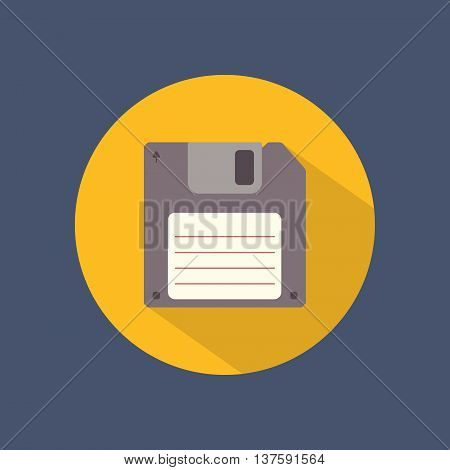 Floppy disk flat round icon on dark background. Retro style. Vector illustration.