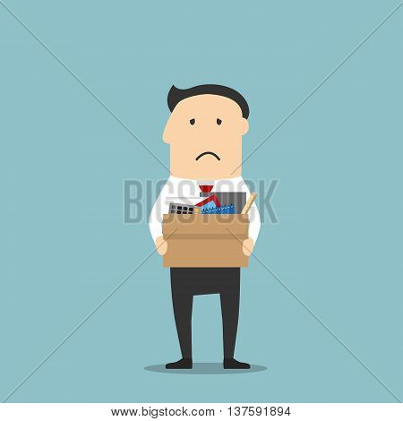 Disappointed jobless cartoon businessman is carrying a cardboard box with personal belongings, leaving office after being fired. Use as unemployment, financial crisis and depression theme design