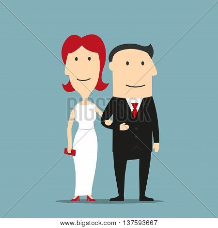 Happy couple of man in black formal suit and redhead woman in white evening dress with red high heels and clutch are standing arm in arm. Romantic date or evening out design usage