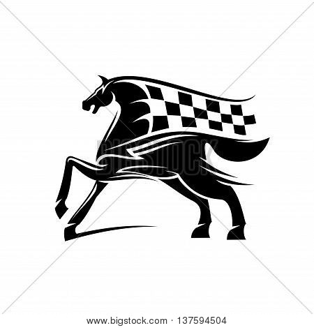 Speed and power racehorse pawing foreleg black silhouette with flowing mane and tail in a shape of race flag ornated by tribal ornamental elements. Use as motorsport badge or equestrian theme design