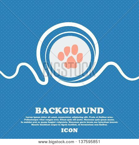 Trace Dogs Sign Icon. Blue And White Abstract Background Flecked With Space For Text And Your Design