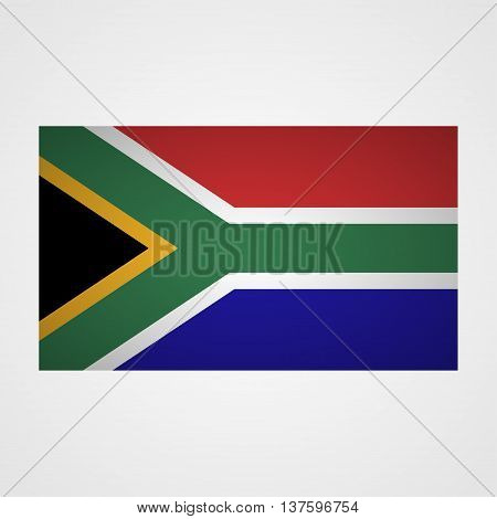 South Africa flag on a gray background. Vector illustration