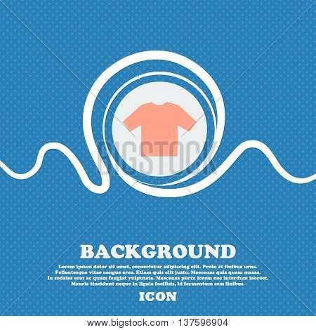 T-shirt Sign Icon. Blue And White Abstract Background Flecked With Space For Text And Your Design. V