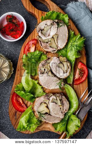 Roulade Of Duck Stuffed With Apple And Ginger