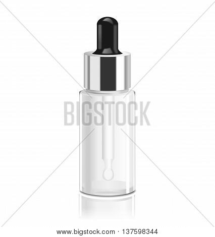 Medical glass bottle with dropper. Essential oil package isolated on white.
