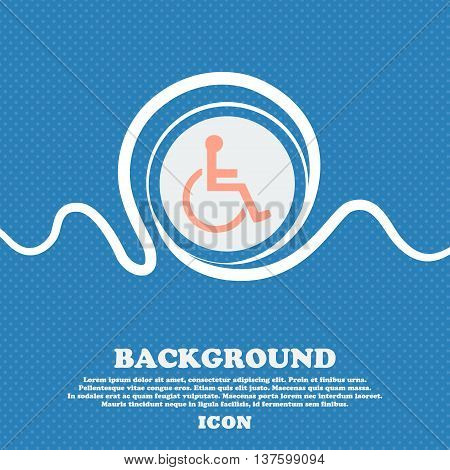 Disabled Sign Icon. Blue And White Abstract Background Flecked With Space For Text And Your Design.