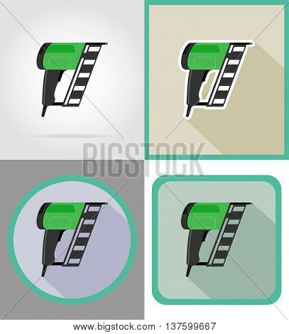 electric nailer tools for construction and repair flat icons vector illustration isolated on background