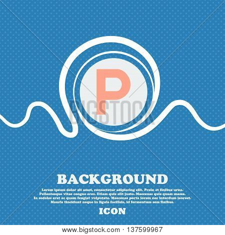 Parking Sign Icon. Blue And White Abstract Background Flecked With Space For Text And Your Design. V