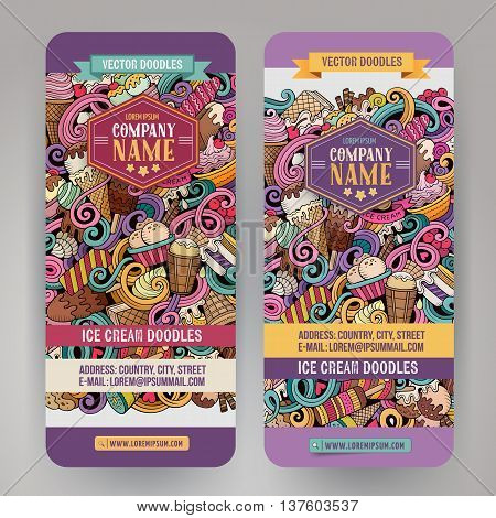 Cartoon colorful vector hand drawn doodles ice cream corporate identity. 2 vertical banners design. Templates set