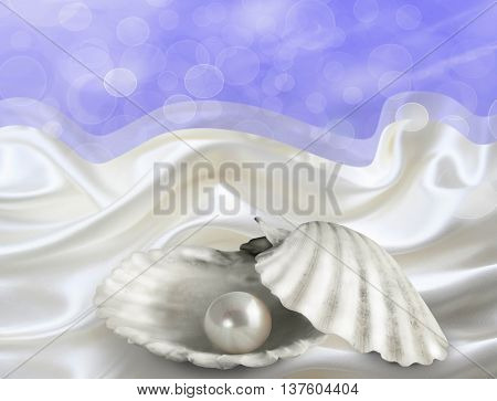 Abstract illustrated background with single pearl in oyster shell on white satin and blue bokeh sky