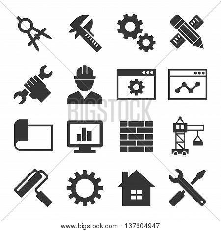 Engineering Icon Set on White Background. Vector illustration