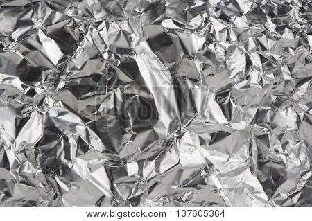 Crumpled aluminum metal foil as a background