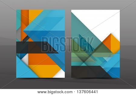 Squares And Triangles Annual Report Cover Template. Color Business Brochure  Vector Template, Front Page  Annual Report Cover Template
