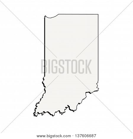 Vector Indiana State USA 3D Outline Map