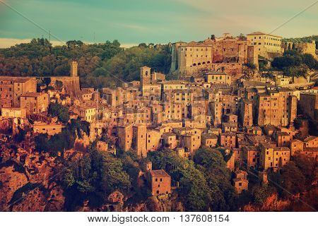 Sorano - tuff city in Tuscany. Italy. View in the dusk, travel background