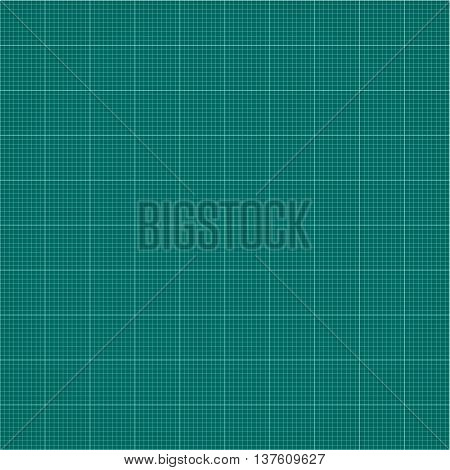 Seamless millimeter grid. Graph paper. Vector engineering paper dark green and white color