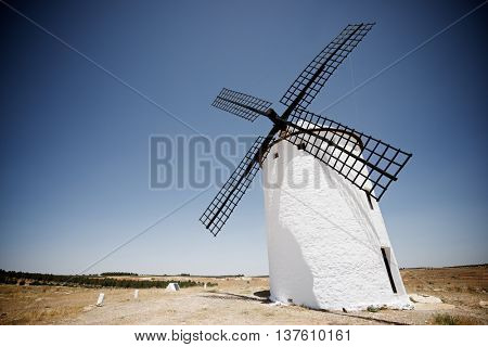 Windmill in Campo de Criptana, Ciudad Real Province, Castilla La Mancha, Spain.