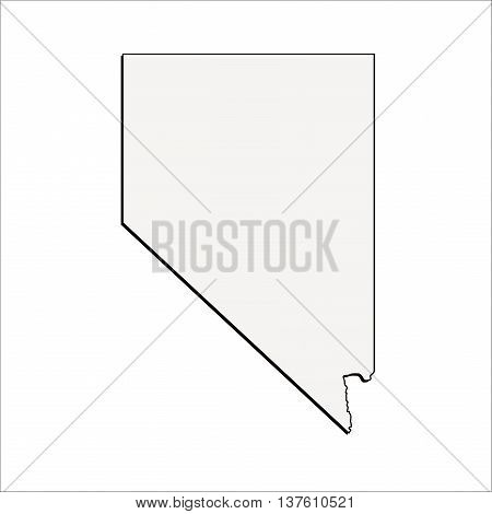 Vector Nevada State 3D Outline Map Mercator