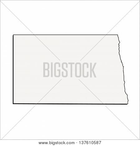Vector North Dakota State 3D Outline Map