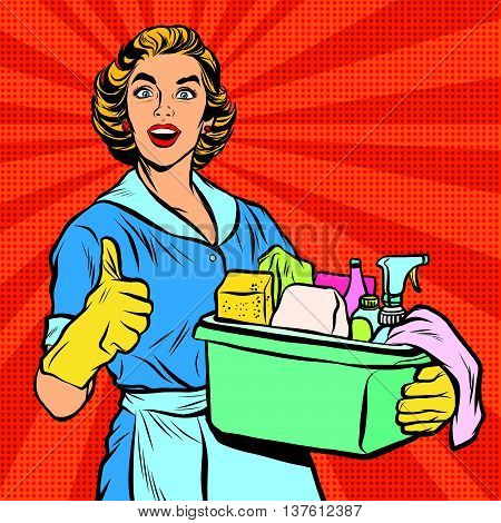 Quality home cleaning, housewife. Pop art retro vector, realistic hand drawn illustration.Professional service poster