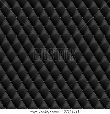 Seamless Black Leather Texture. Vector Leather Background. Luxur