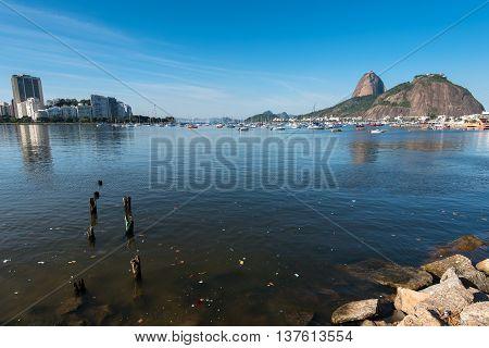 Trash in Waters of Guanabara Bay in Rio de Janeiro, Brazil