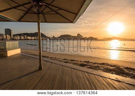 Sunrise in Copacabana Beach in Rio de Janeiro, Brazil