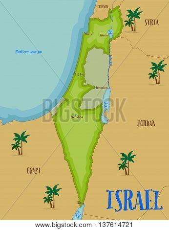 Welcome to Holy Land map of Israel in cartoon style. Vector illustration