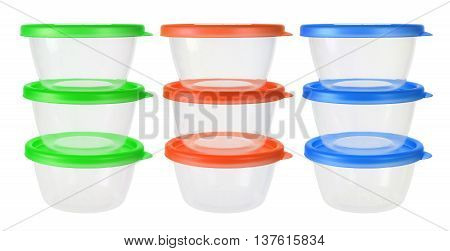 Stacks of Plastic Containers on White Background