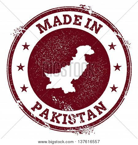 Pakistan Vector Seal. Vintage Country Map Stamp. Grunge Rubber Stamp With Made In Pakistan Text And