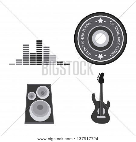 Electro and Dance Party represented by icon set. Isolated and Flat vector illustration