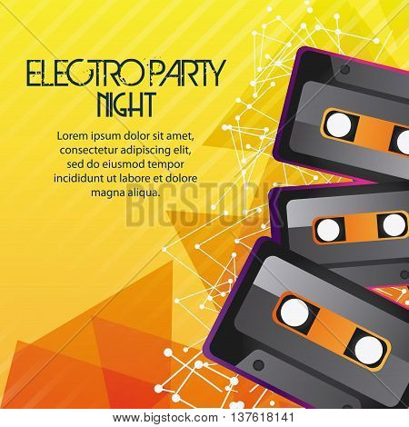 Electro and Dance Party represented by Cassette icon over striped background. Colorfull and Flat illustration