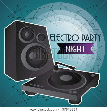 Electro and Dance Party represented by speaker icon over blue background. Colorfull and Flat illustration