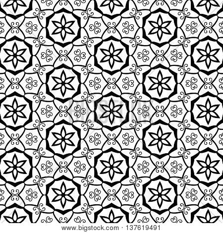 Geometric Stars Ornate Swirls Flourishes Celtic Tribal Leaf Leaves Floral Flower Petals Trendy Black Line Design Repeating Seamless Vector Pattern Background Cute Intricate Funky Tiling Art